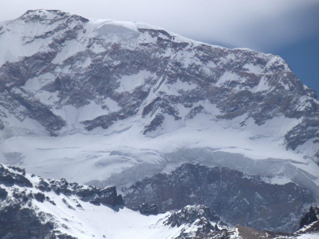 Closeup of glaciers high on Aconcagua