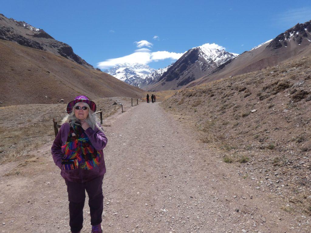 Susan with Mt Aconcagua
