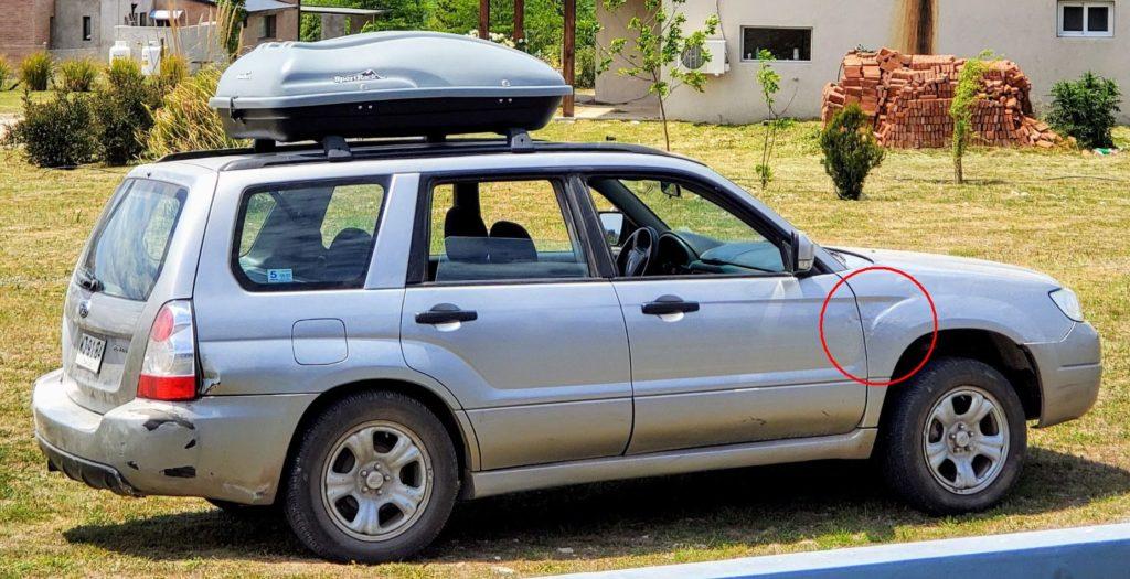 Subaru after repair (red circle)