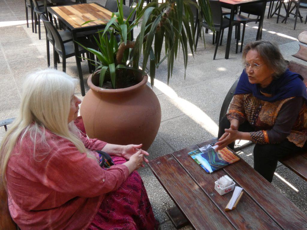 Josie and Suan at coffee shop, Santa Rosa de Calamuchita, Argentina
