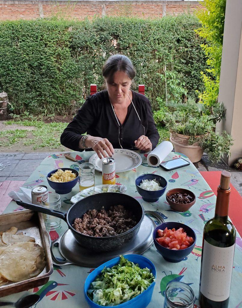 Silvia ready to construct her first taco, La Providencia B&B